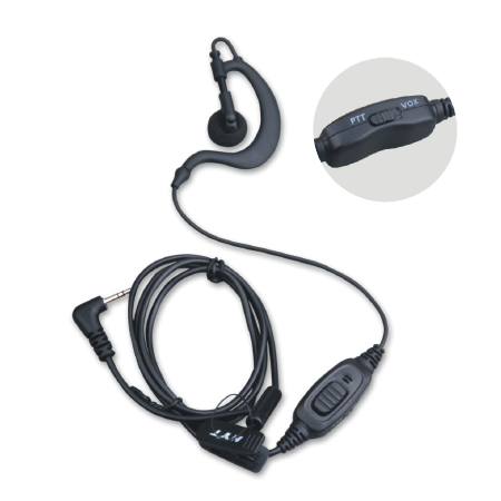 Hytera C-shape Earpiece with in-line PTT and VOX EHS09